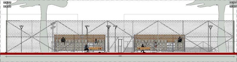 Progetto campo da tennis Sezione A-A