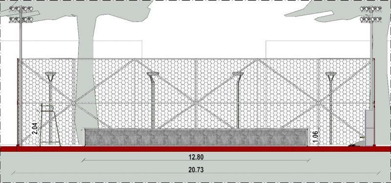 Progetto campo da tennis Sezione B-B