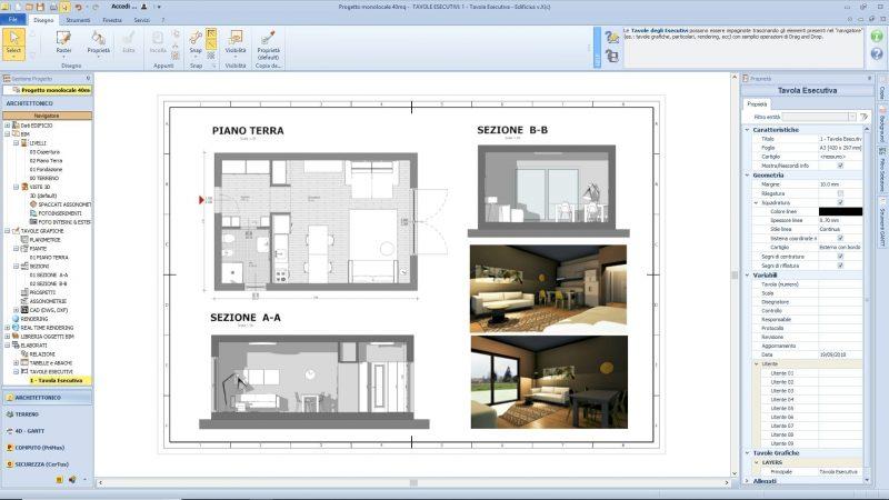 progetto monolocale 40 mq - tavola esecutiva