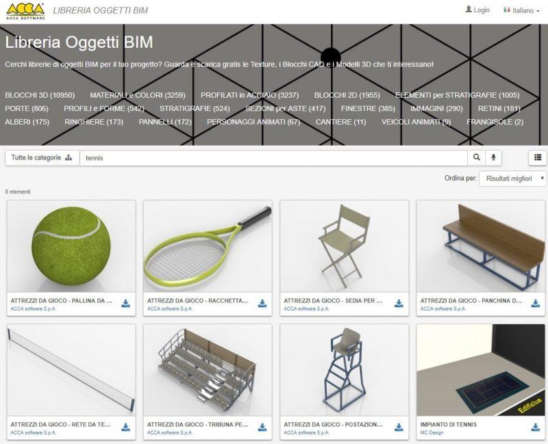 progetto campo da tennis _ oggetti BIM