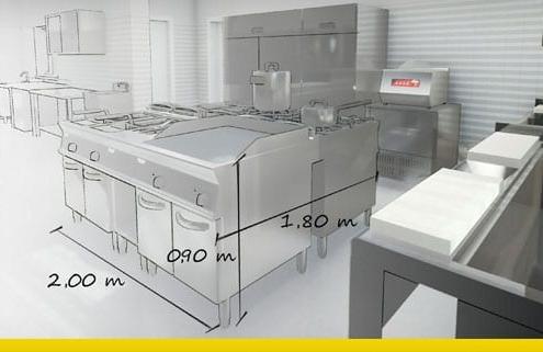 progetto di una cucina per ristorante