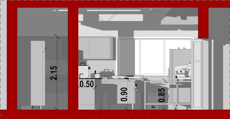 progetto di una cucina per ristorante _Sezione-B-B