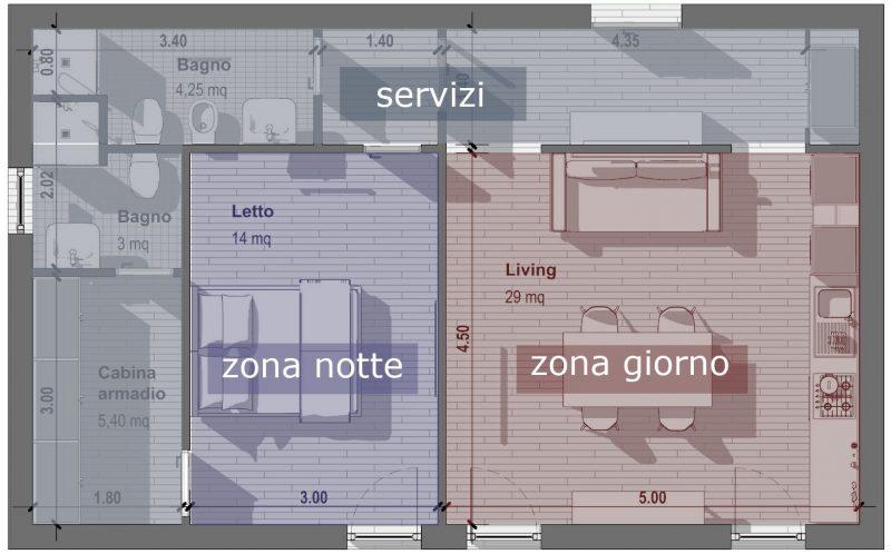 Progetto-di-un-bilocale-pianta-60 mq-schema