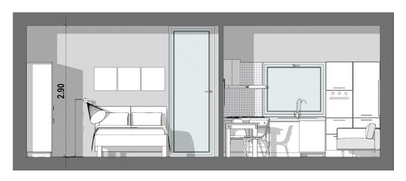 Progetto-di-un-bilocale-40 mq-sezione a-a