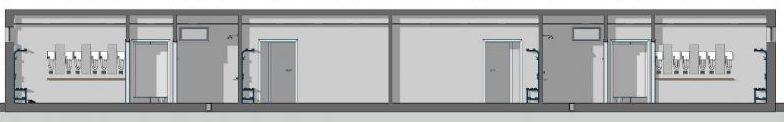 Progetto di spoglatoi per impianti sportivi -Sezione A-A