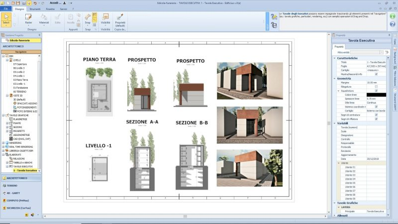 progetto di edicola funeraria _ tavola esecutiva