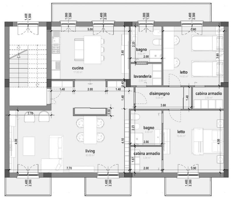 Progetto di ristrutturazione di un appartamento pianta stato di progetto