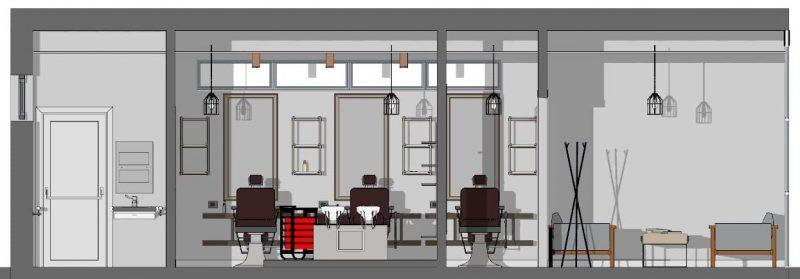 Come progettare un negozio di parrucchiere _Sezione B-B