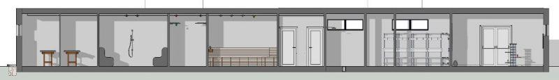 Progetto di un centro benessere - Sezione A-A