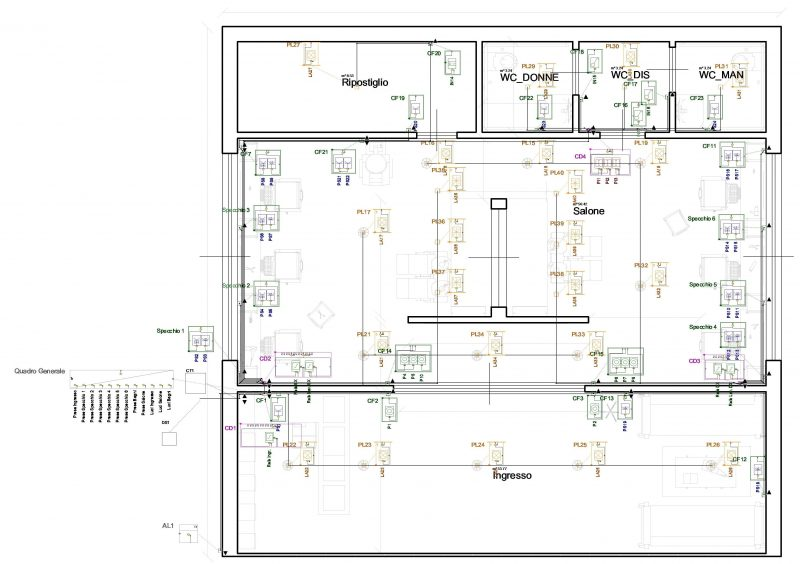 progettare un negozio di parrucchiere _ impianto elettrico