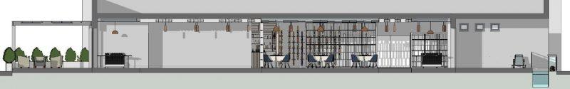 Progetto di un ristorante - sezione A-A
