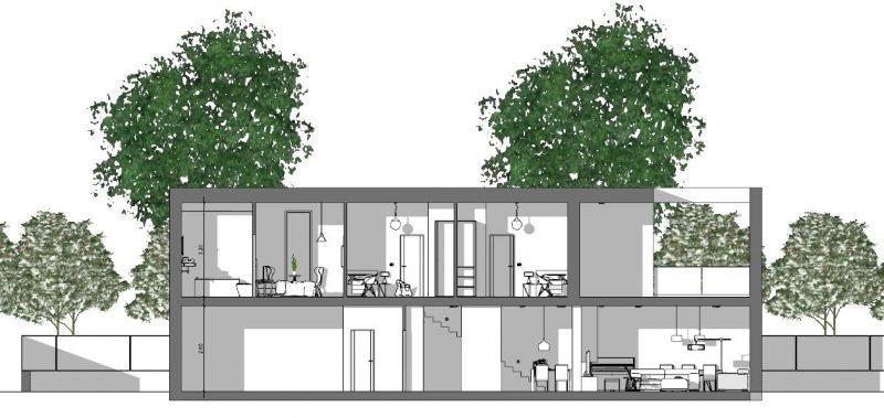 Immagine a colori che mostra la sezione dello stato di fatto di un'abitazione residenziale