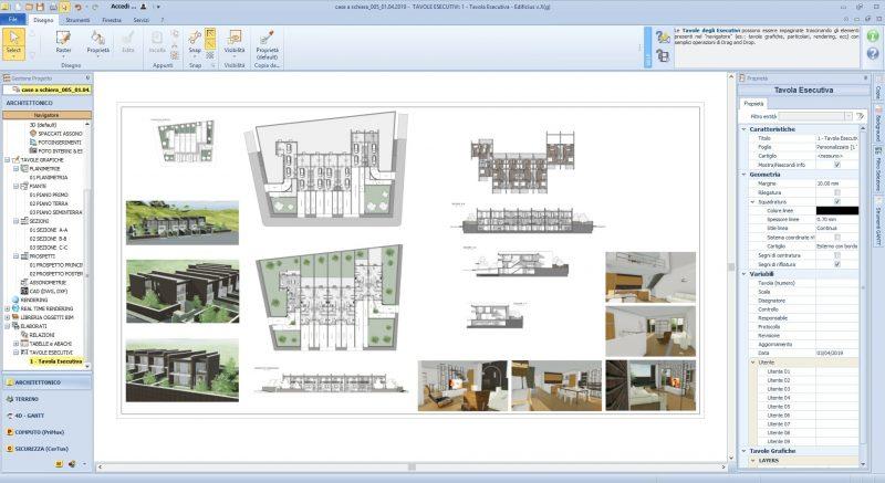 progetto di case a schiera - tavola esecutiva