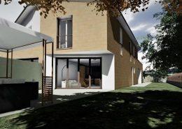 Casa bifamiliare | Abitazione A: vista dal giardino lato sud-est