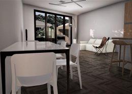 Casa bifamiliare | Soggiorno/pranzo: vista verso il giardino