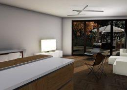 Casa bifamiliare | Soggiorno/pranzo: vista dalla cucina verso il giardino