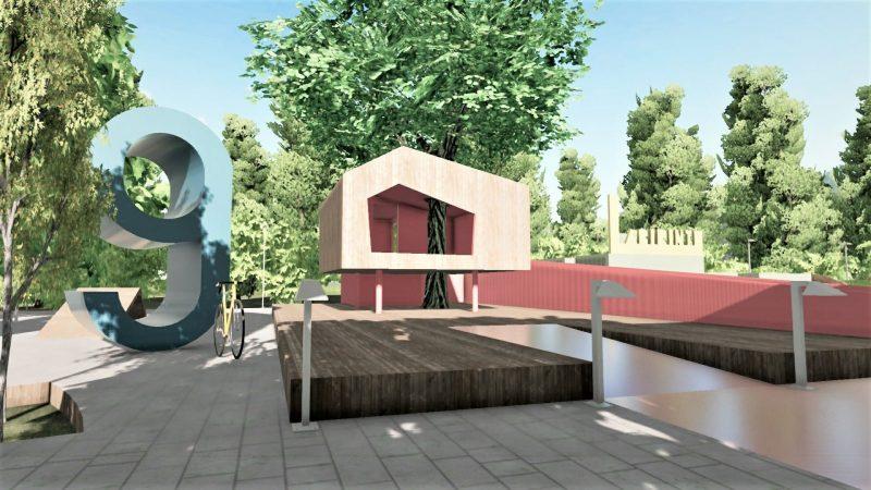 Vista 3D di un parco giochi