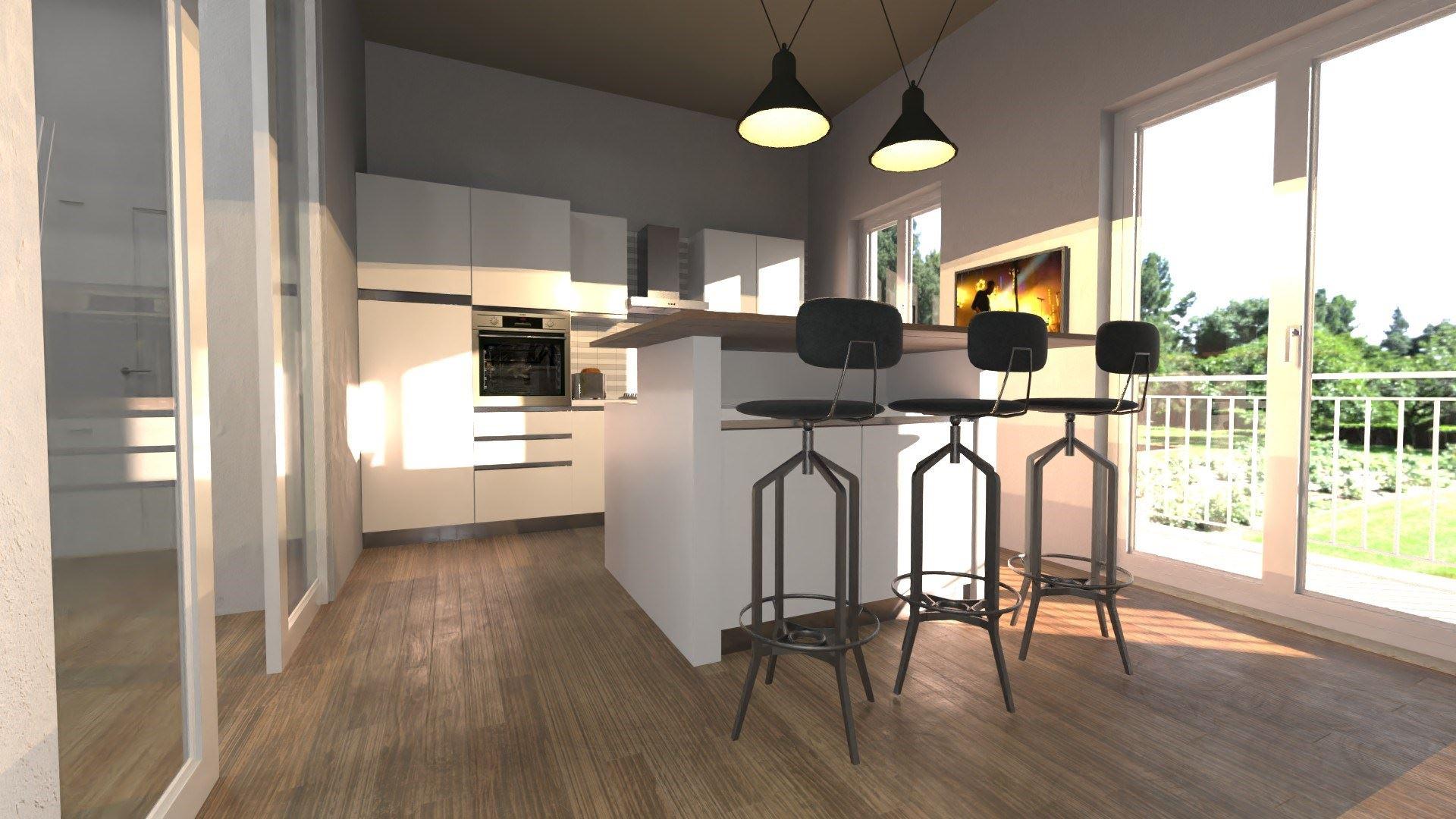 esempio di ristrutturazione con la realtà virtuale - Render realizzato con Edificius