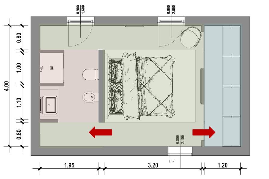 Misure Standard Armadio Camera Matrimoniale.Progetto Camera Da Letto Con Bagno E Cabina Armadio Biblus Bim