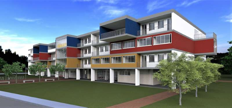 Progetto di una casa per studenti   Vista prospettica del fronte principale