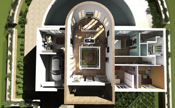 Render foto realistico che mostra una vista prospettica dall'alto di una villa singola