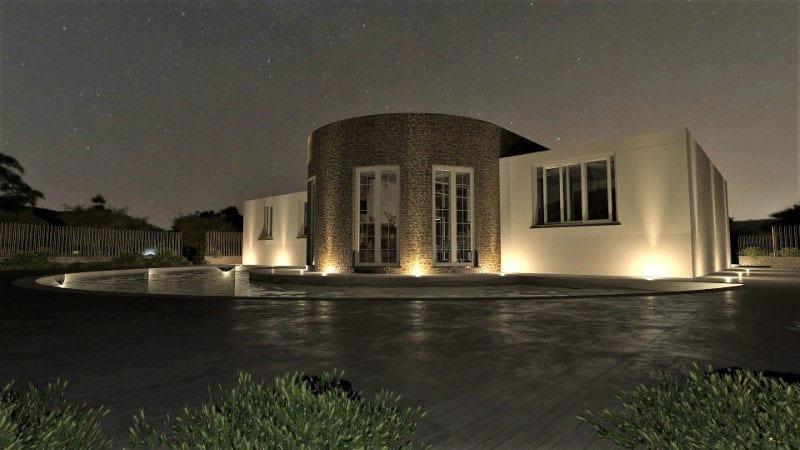 Render foto realistico che mostra la vista notturna della facciata su piscina di una villa singola