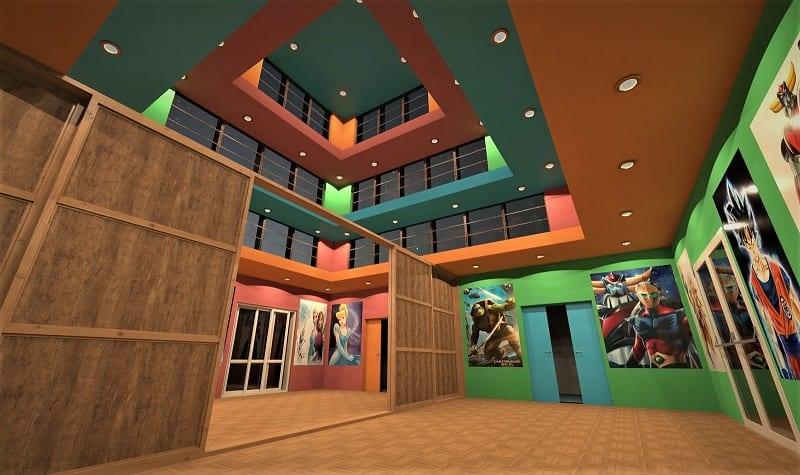 Render foto realistico che mostra il salone principale illuminato con luce artificiale nel progetto di una ludoteca