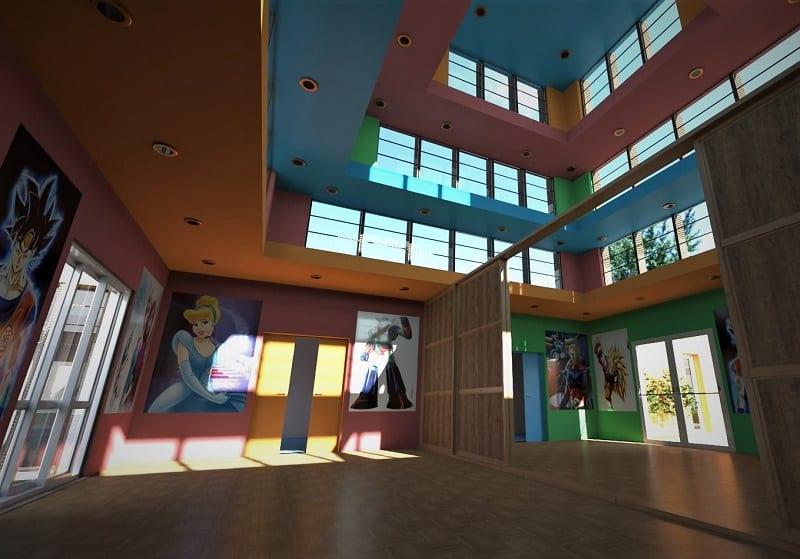 Render foto realistico che mostra il salone principale del progetto di una ludoteca
