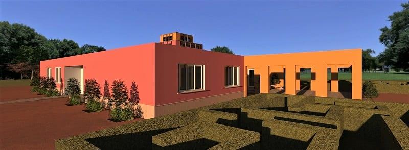 Render foto realistico che mostra la facciata principale del progetto di una ludoteca