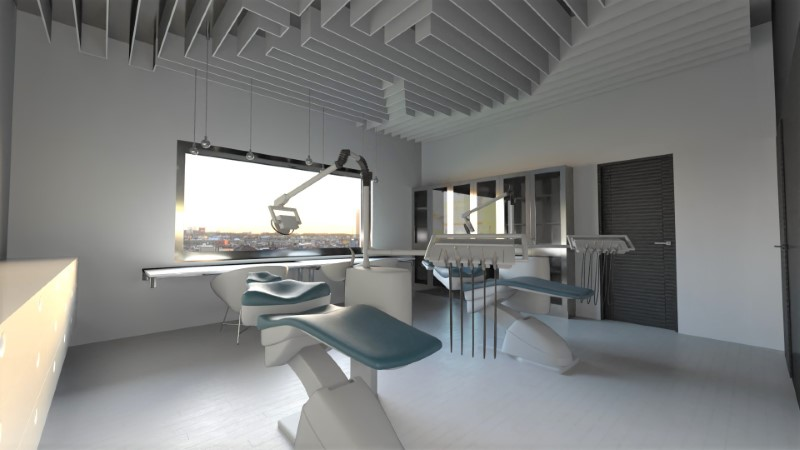 Render foto realistico che mostra lo studio medico del progetto di uno studio dentistico