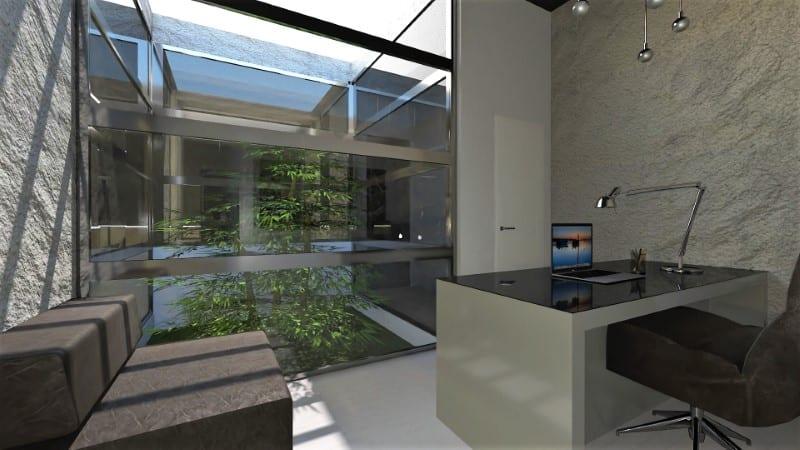 Render foto realistico che mostra l'interno dell'ufficio affacciato sul patio del progetto di uno studio dentistico