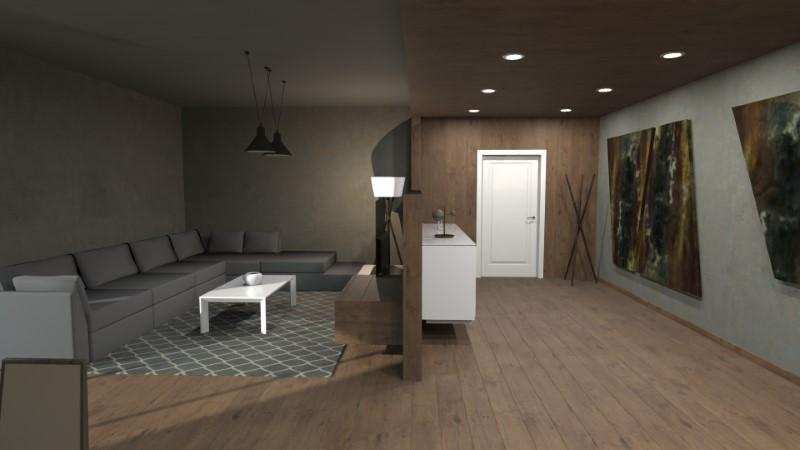 Render foto realistico che mostra la soluzione progettuale di un soggiorno con ingresso defilato