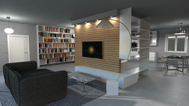 Render foto realistico che mostra la soluzione progettuale di un soggiorno direttamente comunicante con la cucina