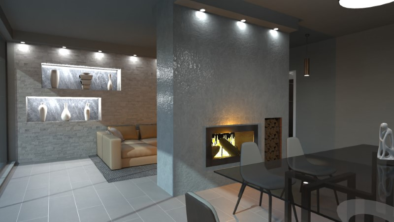 Render foto realistico che mostra la soluzione progettuale di un soggiorno con camino
