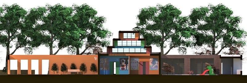 Immagine a colori che mostra la sezione longitudinale del progetto di una ludoteca
