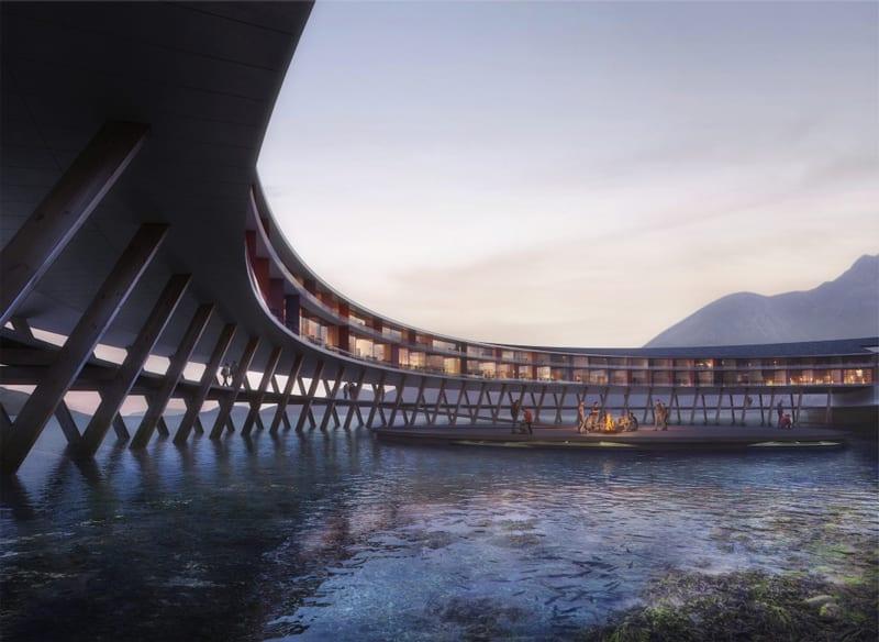 Studio Snøhetta - Svart un hotel sospeso sull'acqua nell'artico
