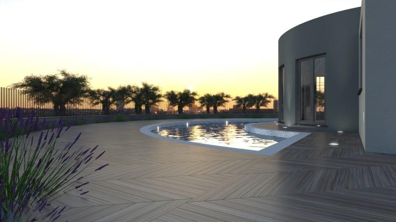 Render foto realistico che mostra una vista della facciata sulla piscina di una villa singola