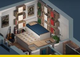 Immagine a colori che mostra la copertina con uno spaccato assonometrico di una camera singola per ragazzi