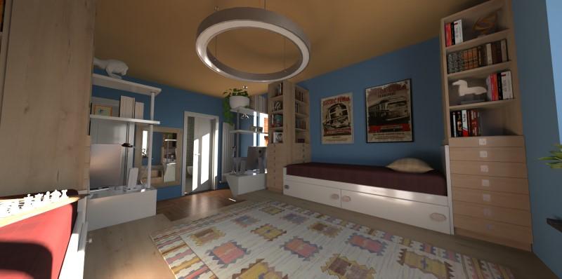 Render fotorealistico che mostra una camera per ragazzi doppia