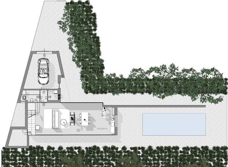 Immagine a colori che mostra la pianta del piano terra del progetto di una casa di campagna