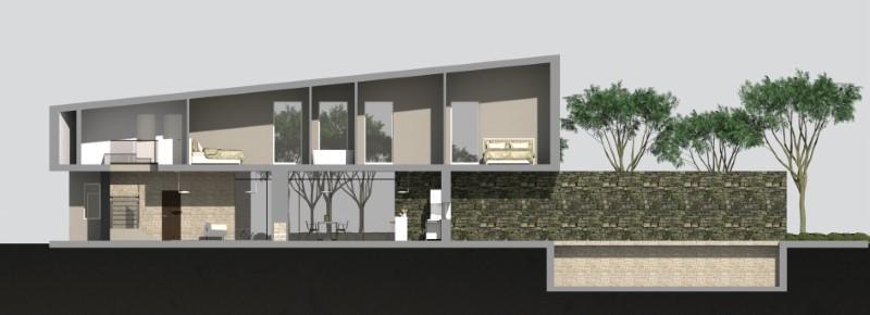 Immagine a colori che mostra la sezione longitudinale del progetto di una casa di campagna