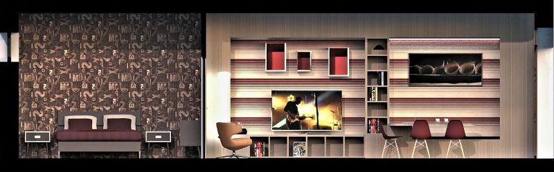 Immagine a colori che mostra la sezione longitudinale verso la zona pranzo libreria del progetto di come trasformare un garage in appartamento