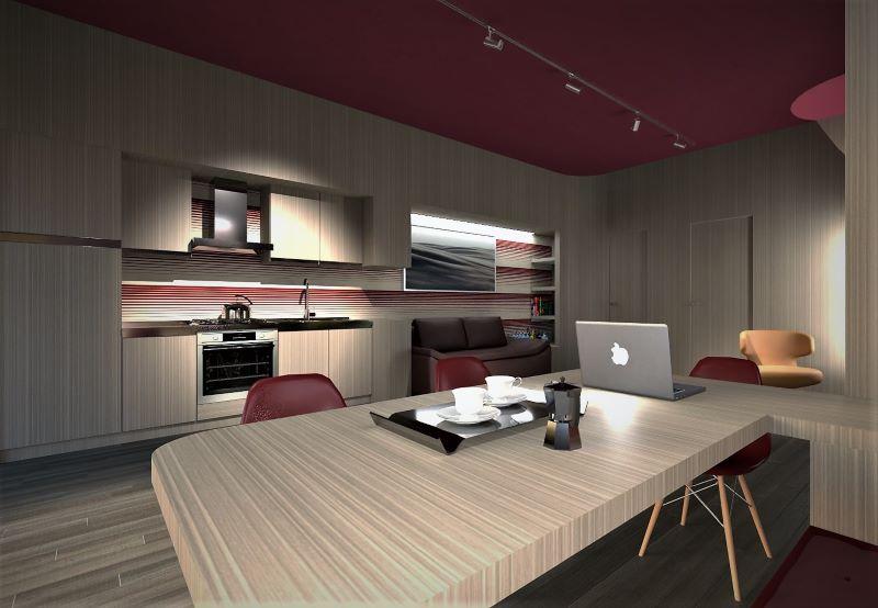 Come trasformare un garage in appartamento | Rendering della vista dal tavolo pranzo/lavoro verso la cucina