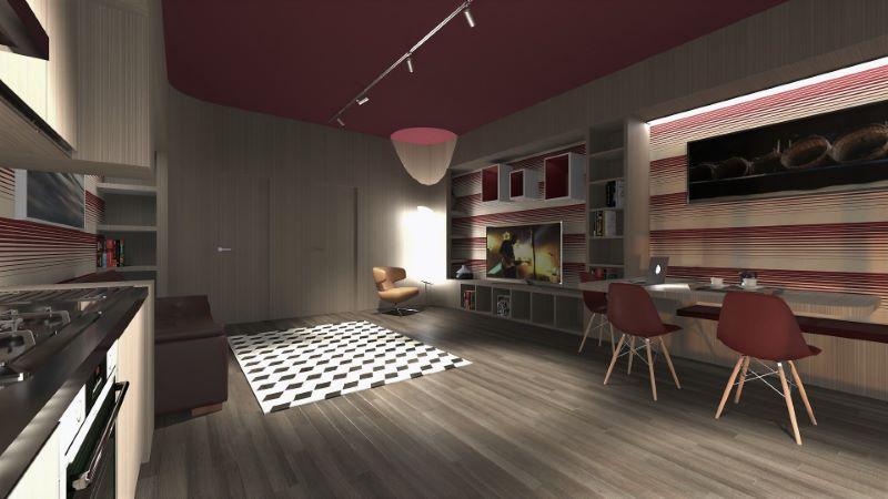 Render foto realistico che mostra una vista dell'ambiente living del progetto di come trasformare un garage in appartamento