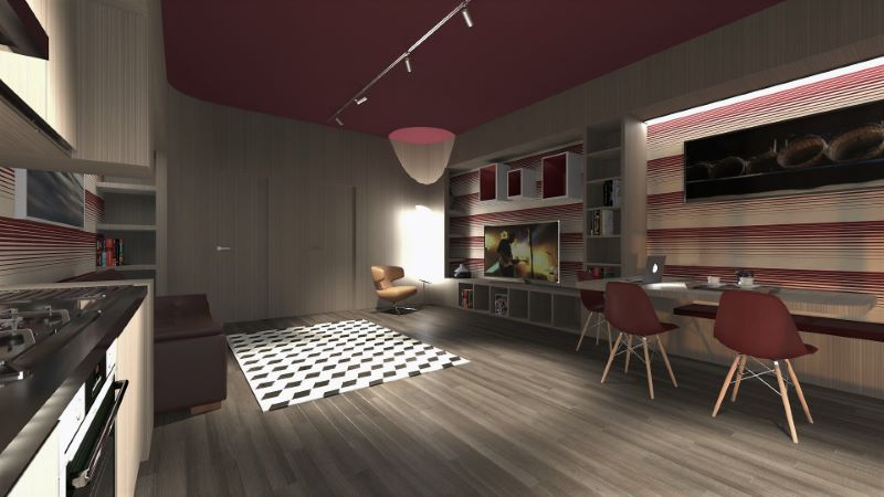 Come trasformare un garage in appartamento | Render della vista dell'interno ambiente living