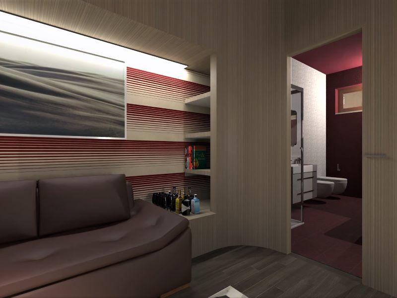 Render foto realistico che mostra una vista dalla zona living verso il bagno del progetto di come trasformare un garage in appartamento
