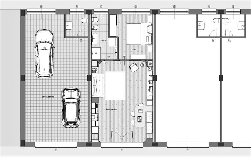 Immagine che mostra una pianta di confronto del prima e del dopo della trasformazione riguardo al progetto di come trasformare un garage in appartamento