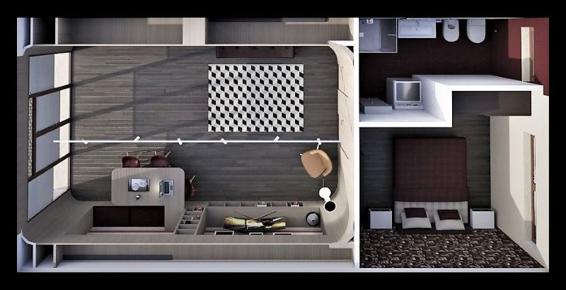 Come trasformare un garage in appartamento | Vista zenitale dell'appartamento
