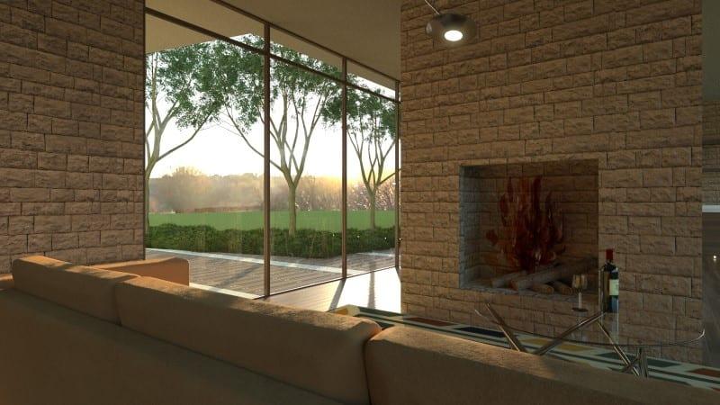 Render foto realistico che mostra una vista della zona camino del progetto di una casa di campagna