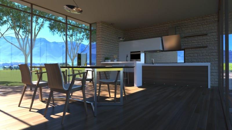 Render foto realistico che mostra una vista della zona giorno del progetto di una casa di campagna